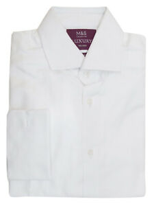 M&S WHITE Mens Pure Cotton Tailored Fit Double Cuff Long Sleeve Luxury Shirt