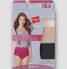 Women's Hanes Premium Seamless Smoothing Briefs Panties 3-Pack - Size 8/XL