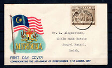MALAYA MALAYSIA 1957 MERDEKA INDEPENDENCE FDC FIRST DAY COVER SUNGEI PATANI CDS