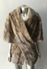 Mink Real Fur Shawl Vintage Silver Cape Cloak Pelz Mantel Jacket Coat