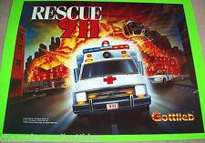Gottlieb RESCUE 911 Original 1994 NOS Pinball Machine Translite Artwork Sheet