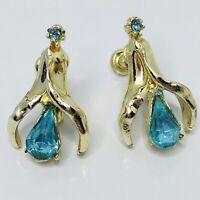 Vintage Blue Rhinestone Flower Earrings Bell Teardrop Shape Screw Back Floral