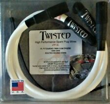 TWISTED 12mm WHITE SPARK PLUG WIRES HARLEY ELECTRA GLIDE ROAD KING STREET 99-08