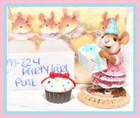 ❤️Wee Forest Folk M-224 Party Girl Pink Birthday Mouse Gift Box Retired WFF❤️