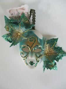 Venice Decorative Small Mask La Maschera Del Galeone- Green & Gold Glitter-Italy