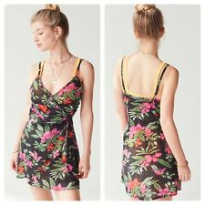Urban Outfitters Out From Under Delaney Floral Wrap Dress Hawaiian Small NEW