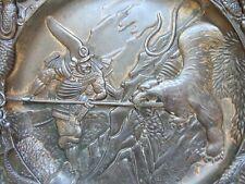 More details for japanese ? bronze metal plaque / charger meiji period ? antique samurai v tiger