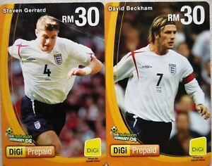 Malaysia used DIGI Prepaid Reload Card - 2 pcs David Beckham & Steven Gerrard