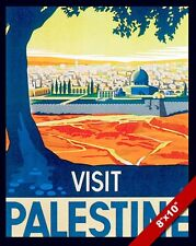 VINTAGE VISIT PALESTINE DOME OF THE ROCK TRAVEL AD POSTER ART REAL CANVAS PRINT