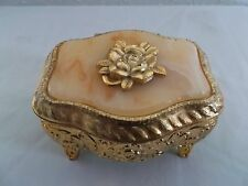 Vintage Rose Japanese Trinket Jewelry Box Gold Metal Footed Lined Ornate Flower