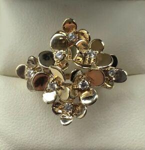 QVC Diamonique 3D Flower Ring Size N