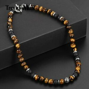 """8mm Natural Tiger Eye Lava Bead Necklace Stainless Steel Toggle 18/20/24"""" Men's"""
