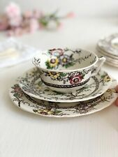TEA CUP, SAUCER & CAKE PLATE Trio Set Medway, Alfred MEAKIN Vintage Transferware