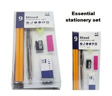 STATIONERY SET - Pen 4 Pencil Eraser Mini Highlighter Sticky Notes Sharpener