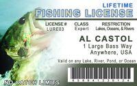 fun novelty Lifetime Fishing License Fisherman plastic ID card Drivers License