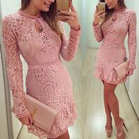 New Summer Women Bodycon Slim Evening Cocktail Party Long Sleeve Lace Mini Dress