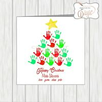 Personalised Teacher Christmas Card From Pupils / Class Handprints Xmas Tree