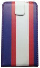 Hülle LG Optimus L7 P700 Cover Streifen Weiß Rot Blau Deckel Flip Top Hardcover