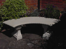 Classic concrete stone curved garden bench