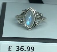 Marquise Rainbow Moonstone 925 Sterling Silver Gemstone Ring RRP £36.99 Boxed