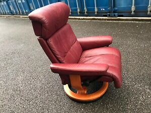 Red Leather Stressless Chair Armchair Ekornes Recliner Medium Delivery
