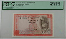 (1976-81) Bank Negara Malaysia 10 Ringgit Note SCWPM# 15 PCGS 67 PPQ Superb Gem
