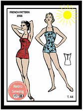 1950's Pin Up Swimsuit -  French Vintage Sewing Pattern
