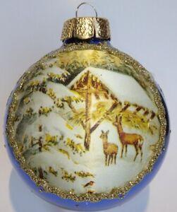 """EGGL"""" Edle  SEIDENBILD Weihnachtskugel mit Bordüre  2 Rehe in Royalblau Ø 8 cm"""