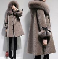 Womens Shearling Lamb Fur Coat Warm Fur Hooded Winter Jacket Warm Outwear New
