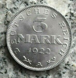 3 Mark 1922 A Berlin Alu Kursmünze Weimarer Republik - Adler mit Umschrift -