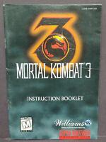 Mortal Kombat 3 - Super  Nintendo SNES Instruction MANUAL ONLY - No Game !!
