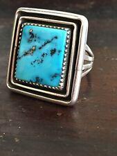 Vintage Navajo sterling silver HUGE spiderweb turquoise ring size 10, 18g SIGNED