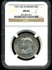 1921 2X2 50c Alabama Commemorative Silver Half Dollar MS64 NGC