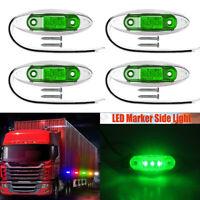 4X Side Marker Green 3-LED Light Indicator Lamp For Trailer Truck Lorry 12V-24V