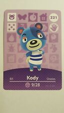 Animal Crossing Series 3 KODY Bear #221 Amiibo Card~UNSCANNED~Mint~US NA Version