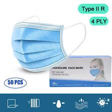 50 x Type 2R IIR 4Ply Masks Medical Masks Face Cover EN 14683 Certified