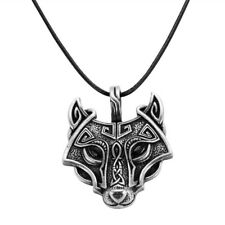 Black Leather Cord Necklace Chain Jewelry Men Norse Vikings Wolf Head Pendant