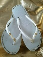 Havaiana flip flops White with rhinestone jewelry  US size 37/38