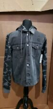 New Charcoal Denim Jean Biker Jacket Camo Skull Hoodie Small S