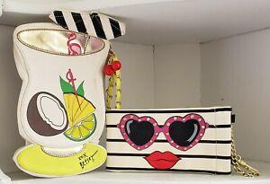 Betsey Johnson Lot of 2 Pina Colada Wristlet Cherries Drink Bag Sun Glasses Case