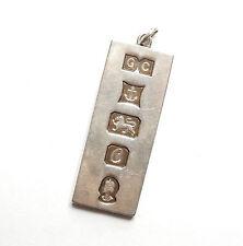 Vintage B'ham 1977 925 Sterling Silver LARGE BULLION BAR INGOT Pendant 30.7g