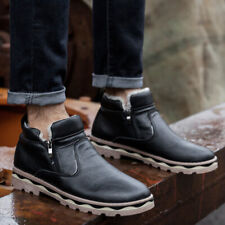 Mens Fleece Lined Ankle Snow Boots Winter Warm Outdoor Slip On Riding Shoes SIZE