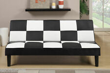 Contemporary Black/White Faux Leather Adjustable Futon Sofa Bed Living Room Home