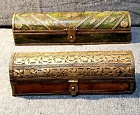 2 Vintage Decorative Wood Trinket Boxes Ornate Design Hinged Lid Made in India