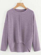 Lavender Drop Shoulder Dip Hem Knit Tee size M