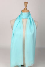 Long Silk Chiffon Scarf Gradient Color Light Blue SCH014