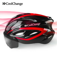Unisex Adult Bicycle Helmet Mountain Bike Cycling Safety Helmet with Goggles Red