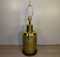 """29.5"""" Brass engraved tea caddy or ginger jar lamp Frederick Cooper ? chinoiserie"""