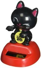 Lucky Cat MANEKI NEKO Solar Power Dancing Figure Japanese Fortune Black