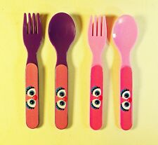 Set of 4 Sesame Street Abby Cadabby Plastic Forks and Spoons - Pink and Purple